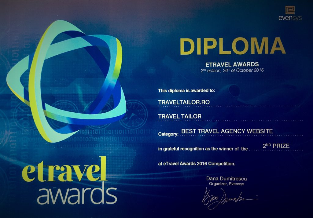 Diploma locul 2 la E-Travel Awards