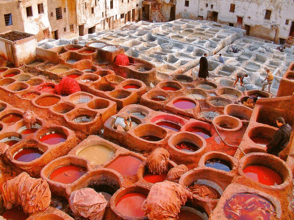 Fez - vopsitorii piele Maroc