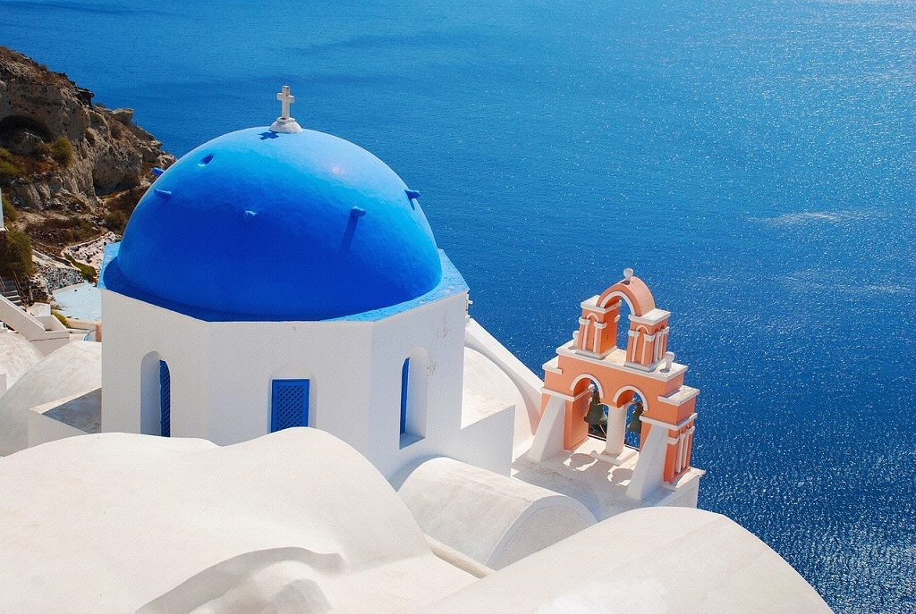 Insula Santorini, Grecia - biserica albastra