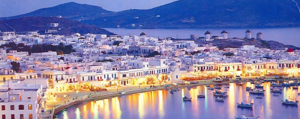 vedere panoramica asupra orasului Mykonos